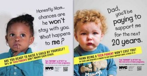 Images from the recent teen pregnancy print campaign by New York City's Human Resources Administration.
